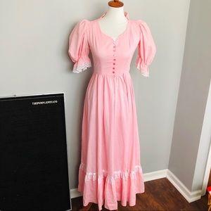 Vintage Handmade Pink Puffed Sleeve Prairie Dress